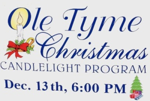 Olde Tyme Christmas Service sign